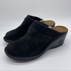 UGG 1934 Gael Black Slip On Wedge Shearling Suede